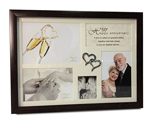 - Elegance 50th Anniversary Collage Photo Frame with Double Heart Icon