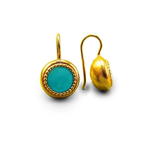 Handmade Drop Earrings For Women Gold Plated Round Genuine Turquoise Gemstone Bohemian Southwestern Style Native American Everyday Earrings Ethnic Jewelry December Birthstone Jewelry Gift