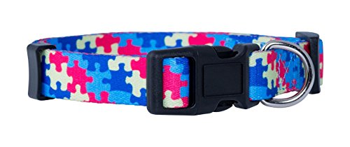 Awareness Dog Collar - Native Pup Awareness Dog Collars- Autism, Breast Cancer, Support Our Troops and Prostate Cancer (Large, Autism)