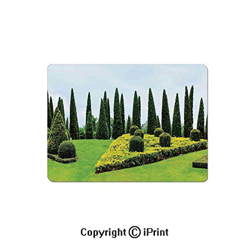 Gaming Mouse Pad Custom,Classic Formal Designed Garden with Evergreen Shrubs Boxwood Topiaries Mouse Mat,Non-Slip Rubber Base Mousepad,7.9x9.5 inch,