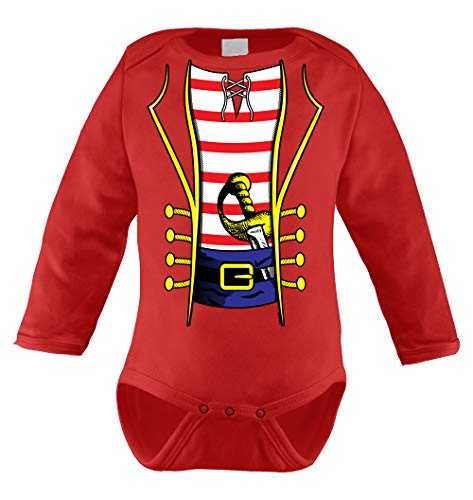 HAASE UNLIMITED Pirate Costume Infant Long Sleeve Bodysuit (Red, 6 Months)
