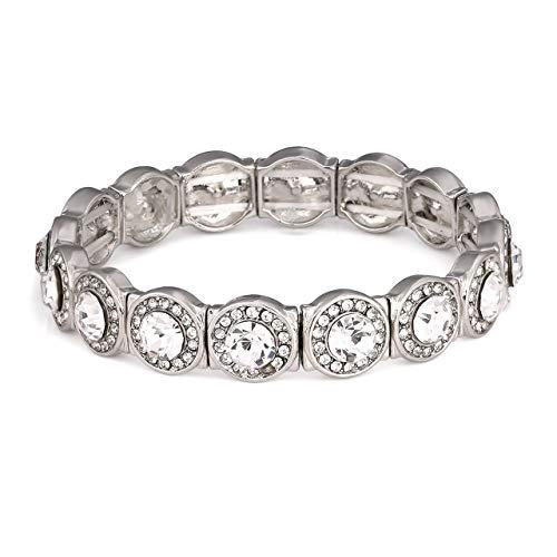 CENAPOG Multiple Rows Crystal Bracelet for Women Rhinestone Station Tennis Bracelet Adjustable Bangle Bracelet (Silver # Stetch) ()