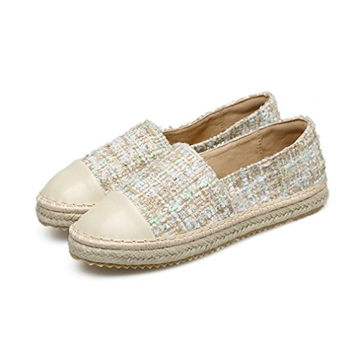 GIY Womens Classic Casual Loafers Flat Moccasin Round Toe Slip-On Dress Penny Loafer Oxfords Shoes Beige