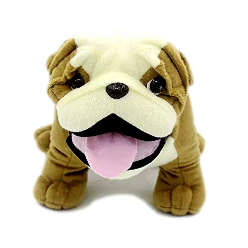 VACHICHI Lifelike Stuffed Toy Animals English Bulldog Realistic Plush Soft Toy Animals Dog Puppy -