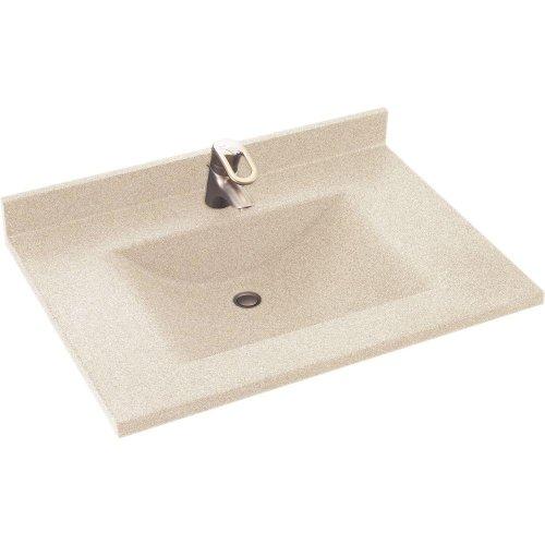 Swanstone CV02237.050 Contour Solid Surface Single-Bowl Vanity Top, 37-in L X 22-in H X 6.25-in H, Tahiti Desert