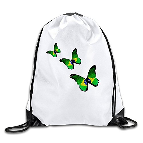 Runy Custom Brazil Flag Butterfly Adjustable String Gym Backpack Travel Bag - Oakley Guide Size