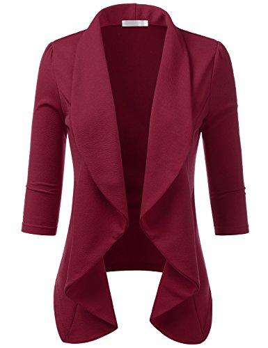 CLOVERY Women's 3/4 Sleeve Casual Open Front Work Office Jacket Ruffles Blazer Ruby 3X Plus - Ruby Red Blazer