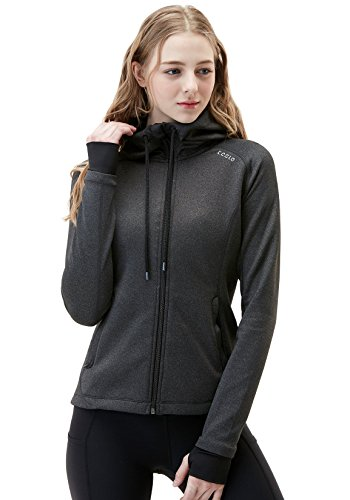 Training Jacket Winter (Tesla TM-FKJ04-GRY_Large Women's Lightweight Active Performance Full-Zip Hoodie Jacket FKJ04)