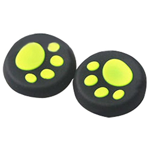 Clearance ! ღ Ninasill ღ Exclusive 1 Pairs Cat's Paw Silicone Gel Thumb Grips Caps For Nintendo Switch Controller (Green)
