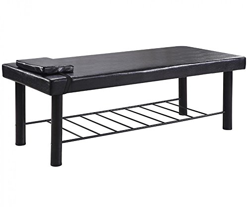 Black Metal Frame Massage Table Stationary PU Spa Treatment Bed w/ Built In FaceRest & 4″ Cushion