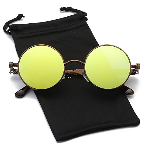 Dumok Round Metal Gothic Steampunk Vintage Circle Sunglasses With Brown Frame/Olive - Cheap Circle Lens