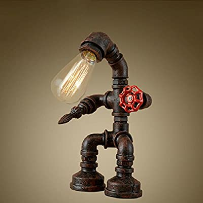 New Decor Nova Retro style creative antique iron embroidery personality empty water pipe table lamp with red valve handle and switch, The bulb is not included