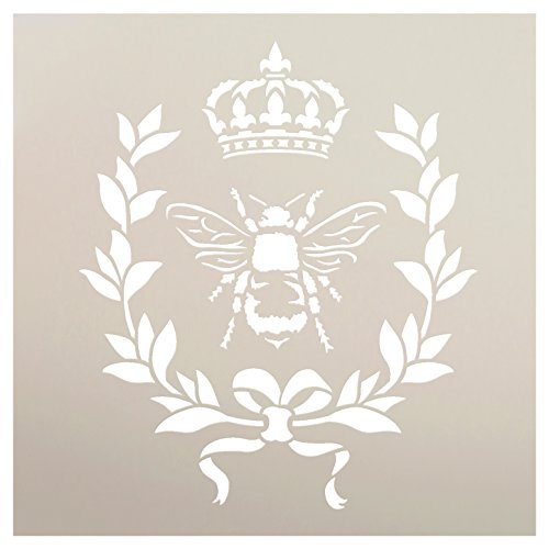 French Bee Stencil by StudioR12 | Crown, Laurel Wreath, Bee, Shabby Chic Country - Reusable- Chalky Paint- Use for Furniture Wood Signs Pillows Fabric Home Wall Decor | SELECT SIZE