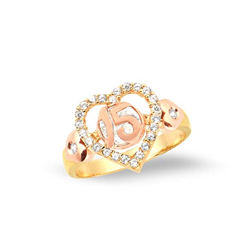 LoveBling 14k Two- Tone 15 Anos Big Hearts with CZ Stones Quinceanera Ring (6) ()