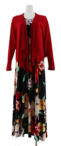 Attitudes Renee Printed Maxi Dress Cardigan Rouge Tropical P3X New A306556 from Attitudes by Renee