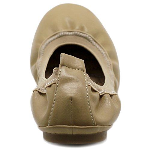 Ollio Tab Flat Beige Shoe Women's Shoe Ballet Comfort Collar Pull rqTPRWcrw