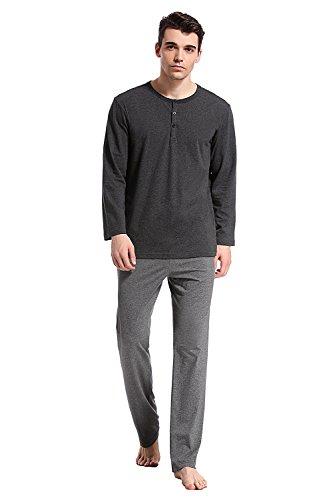 - Like2Sea Cotton Knit Pajamas Men, Long Sleeved Henley Sleepwear Set, Gray, S