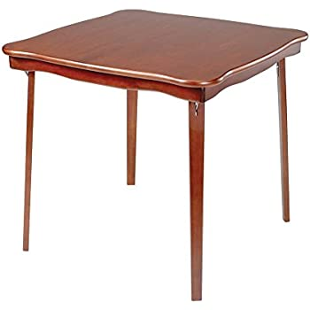 Beau Scalloped Edge Wood Folding Card Table In Cherry Finish