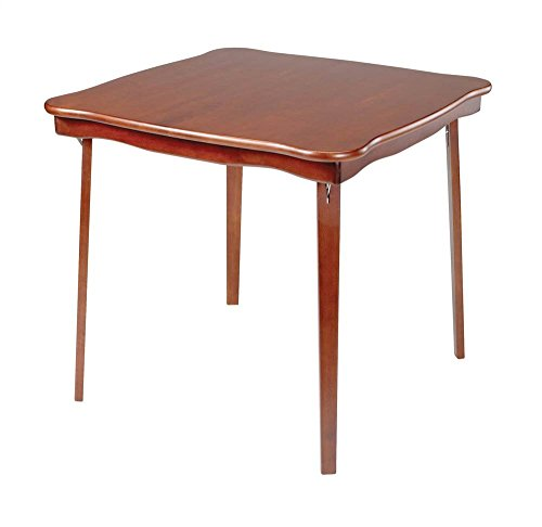 (Scalloped Edge Wood Folding Card Table in Cherry Finish)