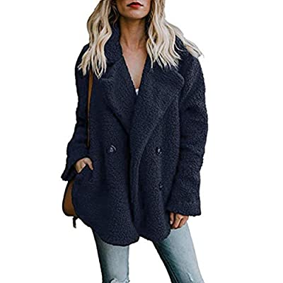 Alicegana Women's Autumn and Winter New Lapel Pocket Suit Collar Plush Button Fuzzy Pea Coat Jackets: Clothing