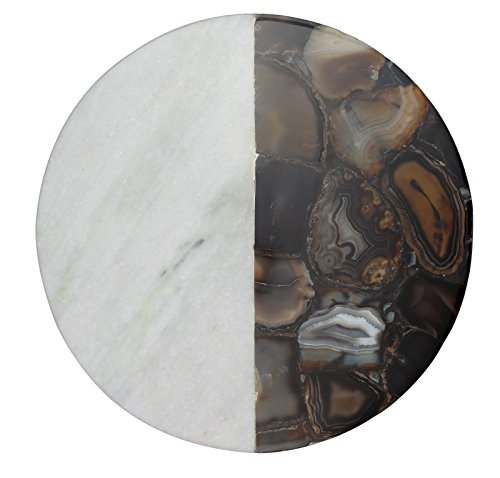 Thirstystone NM054 Marble Agate Round Platter White/Black