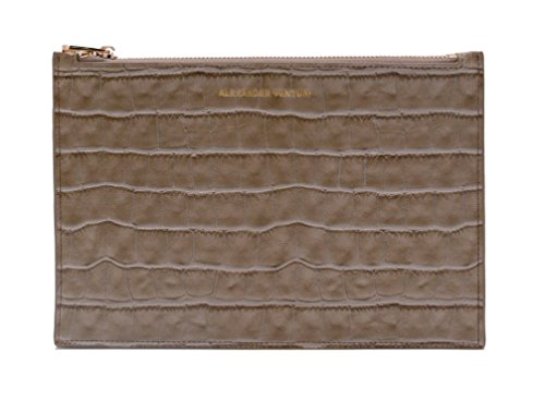 Pouch Grey Alexander Clutch Cosmetic Leather amp; Venturi Evening Bag Croc nqan6T8wR