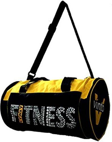 Vinto Crazy Fitness Wording Style Yellow Duffel Bag Black, Kit Bag