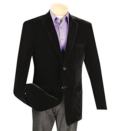 Vinci Men's Velvet 2 Button Classic-Fit Sport Jacket Blazer New [Color Black   Size: M] Lined Velvet Blazer