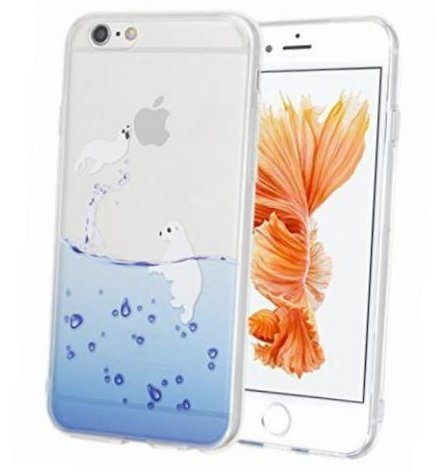 iPhone 6 / 6S, Colorful Rubber Flexible Silicone Case Bumper for Apple Clear Cover - Seal Fun Beach Play Time