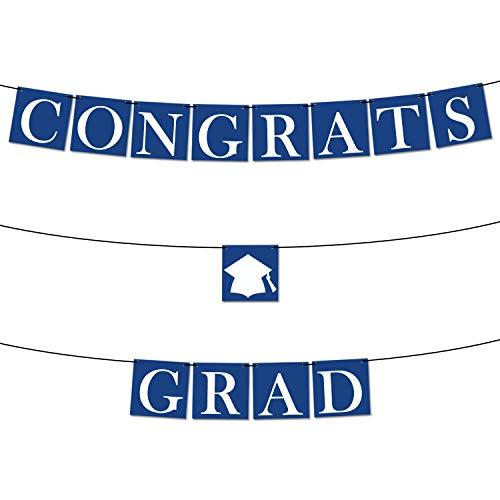 Congrats Grad Graduation Banner - Assembled - Blue Graduation Party Supplies 2019 | Graduation Decorations Blue and White Banner Sign for College Grad Nursing, Nurse Party Décor |Congratulations Sign ()