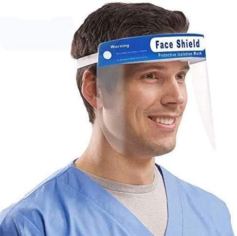 Transparent Wide Visor with Protective Clear Film Elastic Band and Comfort Sponge 5 Pcs Reusable Sun Visor Safety Sun Visor