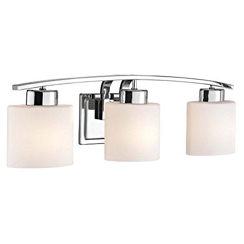 Chrome Bathroom Wall Light with White Oval Glass - Three (Pearl Bathroom Sconce)