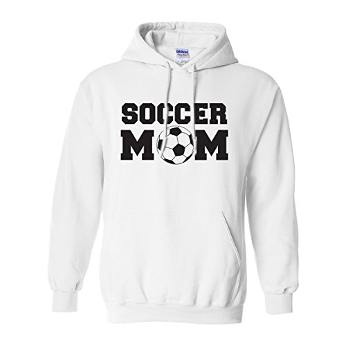 Soccer Mom Adult Hooded Sweatshirt in White with Black Text - -