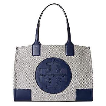 514db4938f611 Amazon.com  Tory Burch Women s Ella Canvas Tote Navy Handbag Mini  Shoes