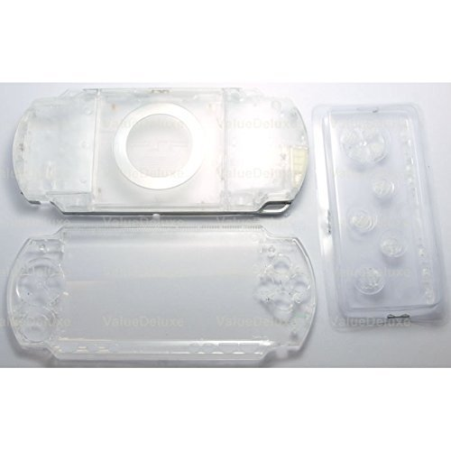 (Gametown New Replacement Sony PSP 1000 Full Housing Shell Cover with Button Set -Crystal Clear White.)