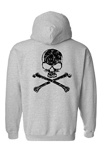 Men's/Unisex Zip-Up Hoodie Biker Black Skull and Cross Bones GREY (Large)