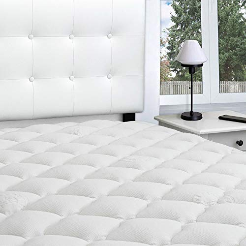 Bamboo Extra Thick Mattress Pad with Fitted Skirt - Extra Plush Cooling Topper - Hypoallergenic - Proudly Made in The USA (Queen) ()