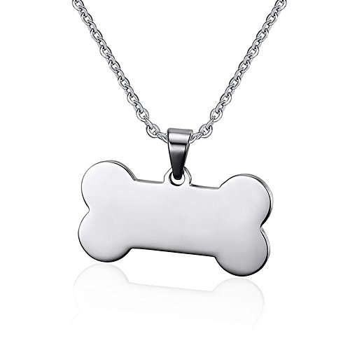 Mel Crouch Stainless Steel Army Skull or Bone or Oval Mens Dog Tag Pendant Necklaces (Style - Tag Pendant Dog Oval