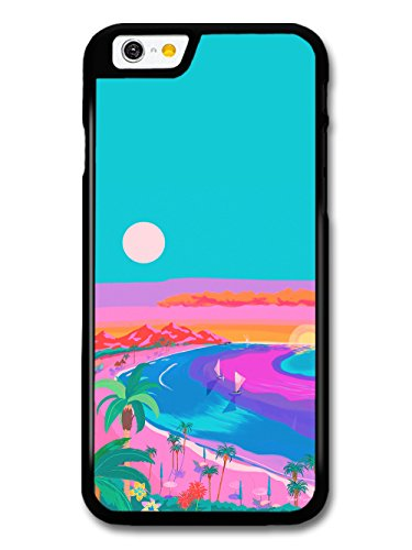 Beach Summer Sunset Palm Trees Illustration Blue and Pink Colours coque pour iPhone 6 6S