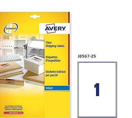 Trasparente 1 Pezzo per Foglio 25 Fogli 210 x 297 Avery J8567-25 Quickpeel Etichette
