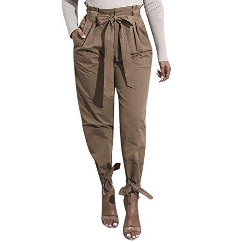 BOLAWOO Pantaloni Donna Primaverile Autunno Eleganti Bendare Monocromo Tempo Libero Pantaloni Mode di marca Cravatta A Farfalla Cintura Inclusa Pieghe Pantaloni Vita Alta Accogliente Lunga Pants Khaki