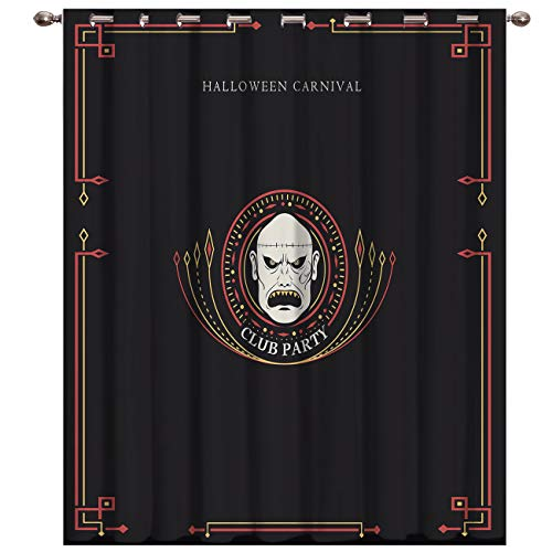 BABE MAPS 1 Panel Blackout Window Curtains for Bedroom with Halloween Ghost Town Printed Grommet Thermal Insulated Room Darkening Curtains for Living Room -
