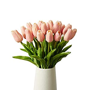 Artificial Tulips 20 Pcs Real Touch Latex Fake Flowers for Wedding Bouquet Home Party Office Decor ( Pink) 56