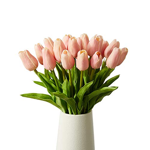 Artificial Tulips 20 Pcs Real Touch Latex Fake Flowers for Wedding Bouquet Home Party Office Decor ( Pink)