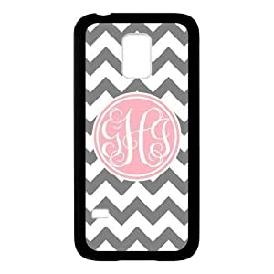 Pink Circle Monogram Personalized Grey and White Chevron Pattern with Cursive Initials luxury For Case Iphone 4/4S Cover (Black)ALL MY DREAMS