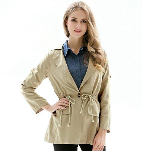Larga Trench Primavera Manga Casual Color Otoño Coat Mujer Outwear Moda Sólido Caqui Y ZKOO aqzpvn