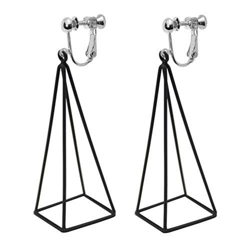14k Gold Gypsy Hoop Earrings - 3D Triangle Clip on Earrings Dangle Drop Aztec Gold Cut Out Pyramid Steampunk Black for Women