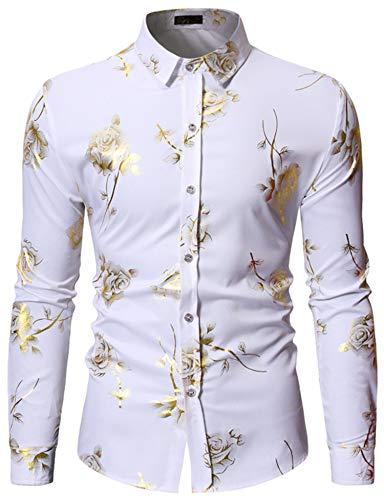 HOP Mens Rose Print Shirt Luxury Gold Design Long Sleeve Slim Fit Button Down Shirts HOPM334-White-M