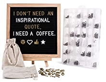 LifeSmart Felt Letter Board Set with Hand Cut and Sanded Smooth 360 Letters,  10 x 10 Decorative Changeable Letter Board for Home and Business with Clear Case, Wood Stand and Bag (Black)