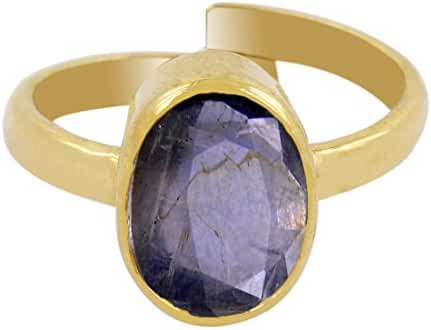 Skyjewels 5.25 Ratti Certified Blue Sapphire Panchdhatu Adjustable Ring